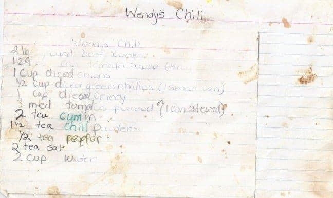 Copycat Wendy's Chili old recipe card
