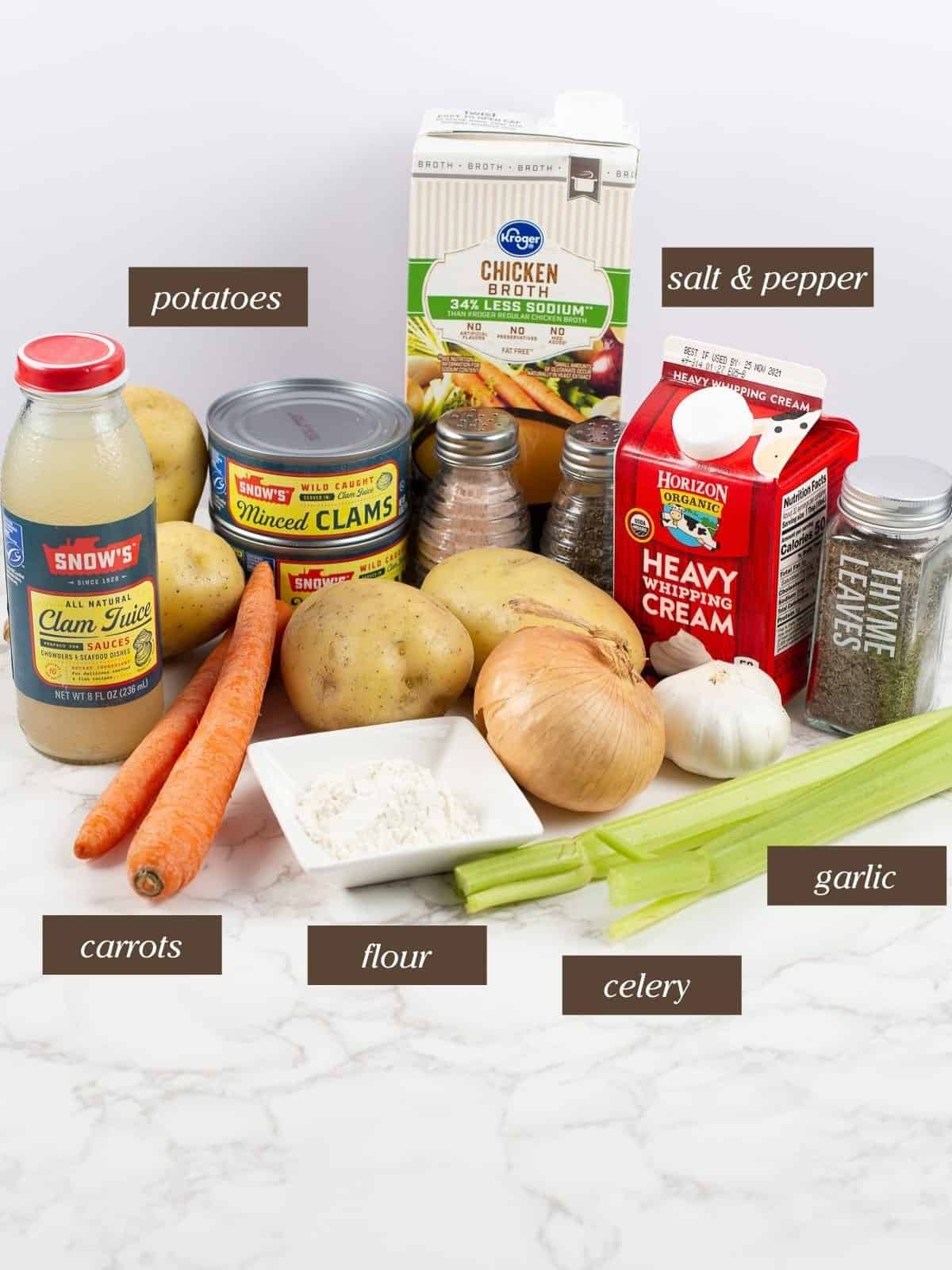 ingredients to make clam chowder