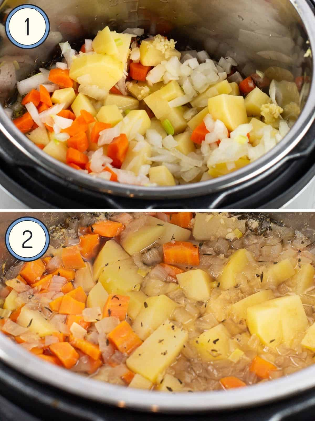 veggies for clam chowder in an instant pot cooked and uncooked