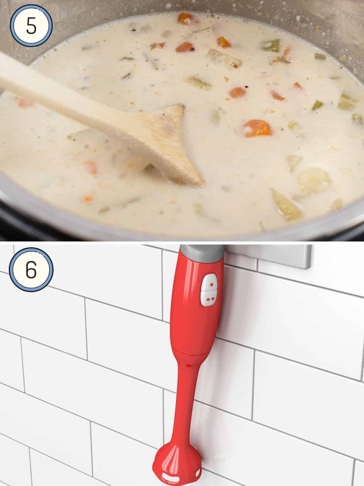 finished clam chowder in instant pot and immersion blender
