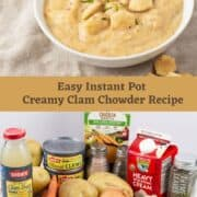 clam chowder in a bowl and all ingredients for recipe