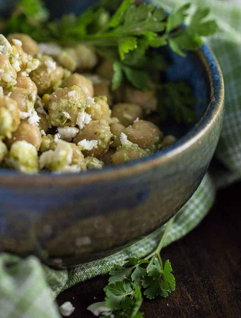 Chickpea Salad with Pesto and Feta