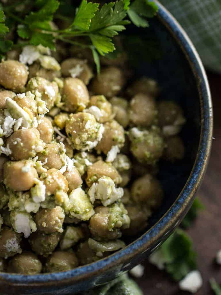 Chickpea Salad with Pesto and Feta