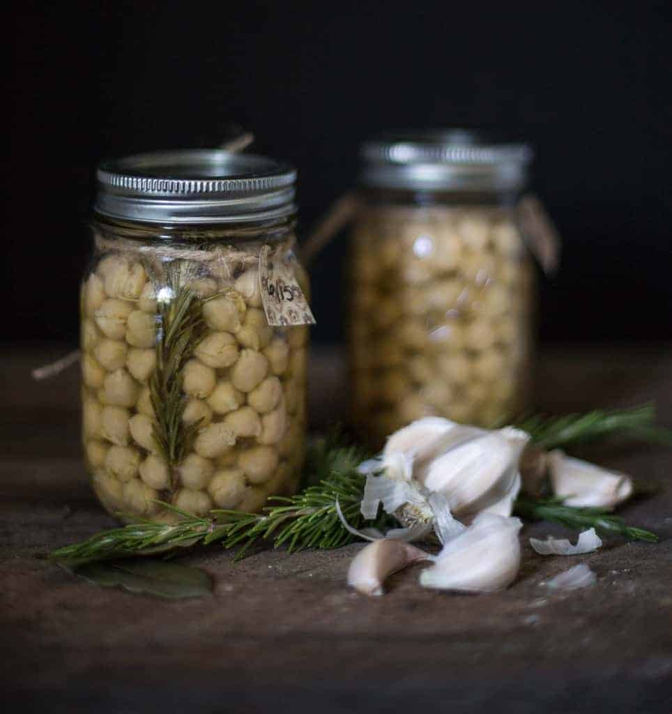 Canned chickpeas in mason jars
