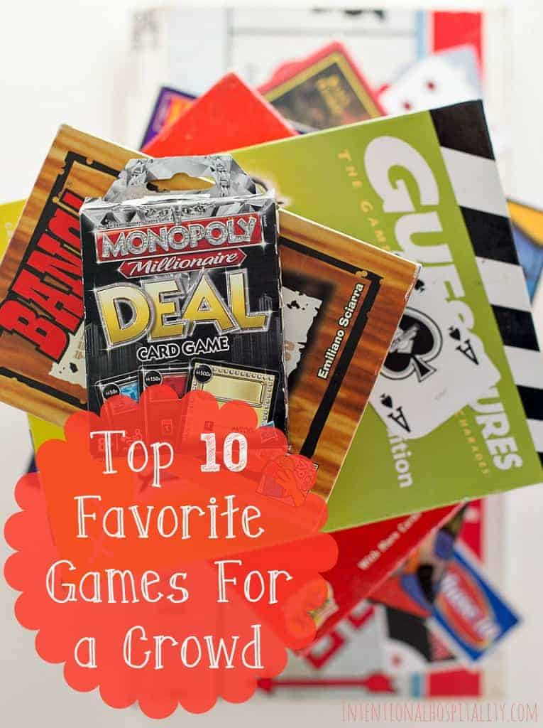 When we have crowd of company over for dinner in our home, we find playing a family style game is a great way to open the door for fun conversations and getting to know each other better. I thought it would be fun to put together a list of our family's favorite go to games for a crowd. I've gathered our Top 10 Favorite Games For A Crowd that we have played over and over when we have company.