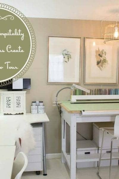 Intentional Hospitality | Where Bloggers Create 2015 Studio Tour | My studio is my happy place, a place to be creative whether it's working in colored pencils, watercolors, sewing, crafts or photography there is space to do it all. There is also storage to keep all my supplies neatly in order.