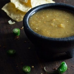 The combination of green tomatoes, chilies, onions and cilantro creates a salsa with authentic Mexican flavor in this recipe for Green Tomato Salsa Verde. It is perfect with chips or as a condiment for fajitas, burritos and quesadillas.