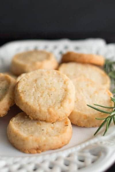 parmesan rosemary shortbread on a plate