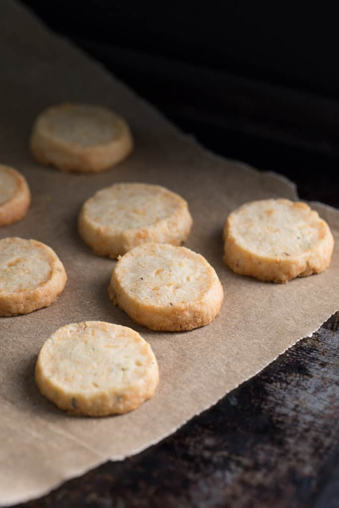 Savory Parmesan and Rosemary Shortbreads are easy to make and elegant to serve.