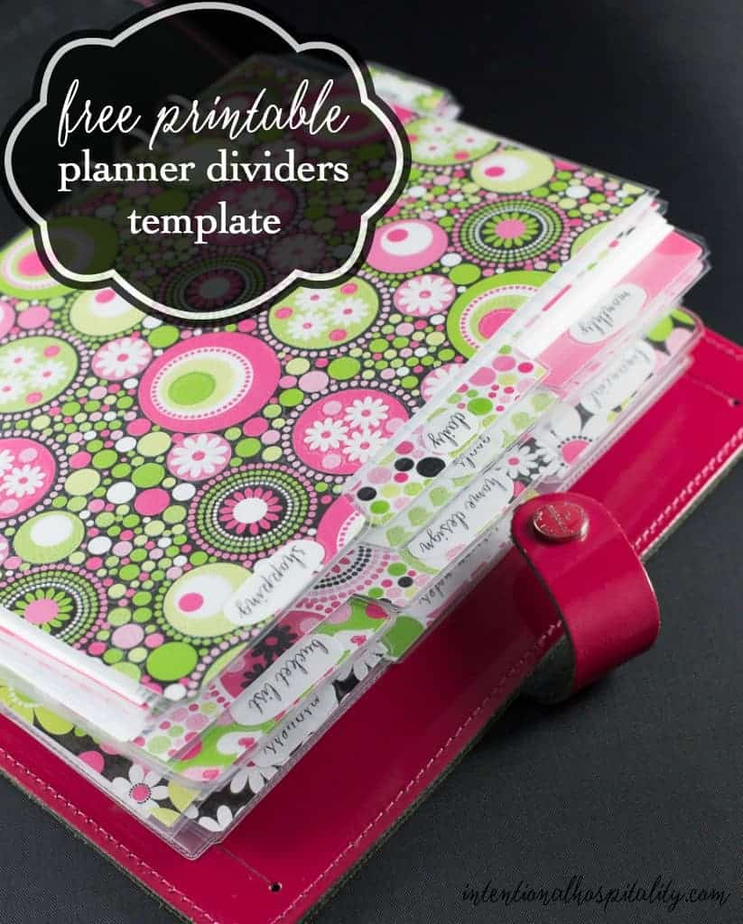 picture regarding Printable Binder Tabs named No cost Planner Dividers and Tabs Intentional Hospitality