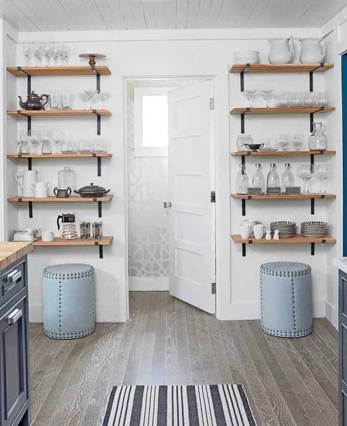 Open kitchen shelves farmhouse style intentional hospitality for Small kitchen shelves