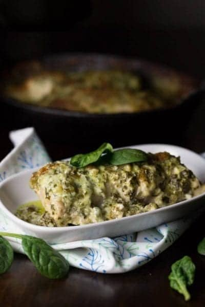 Fresh spinach with a creamy low carb florentine sauce makes this chicken dish a wonderful choice for a healthy dinner.