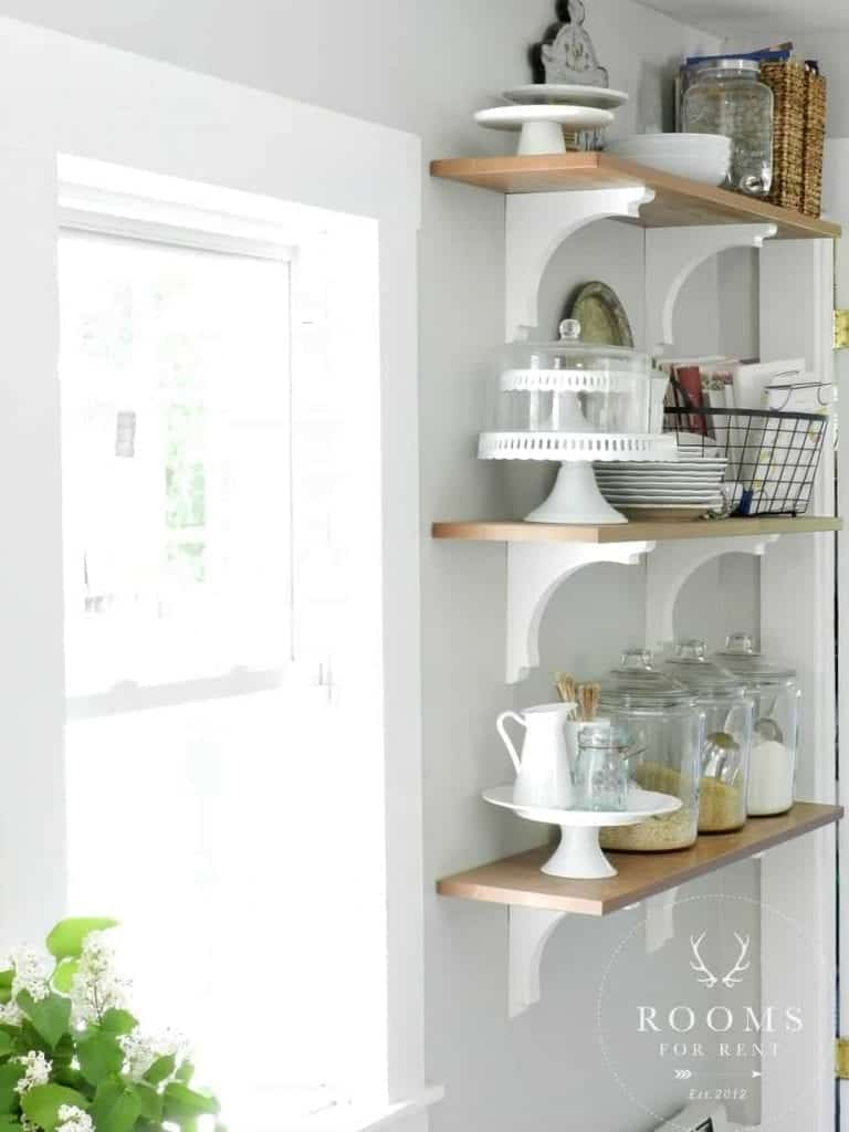 Open kitchen shelves farmhouse style intentional hospitality Open shelving