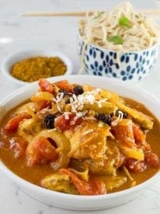 Curried Coconut chicken is a sweet and spicy exotic-tasting dish that is an easy, crowd pleasing one pot meal.