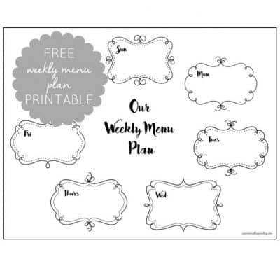 Free Weekly Menu Plan Printable