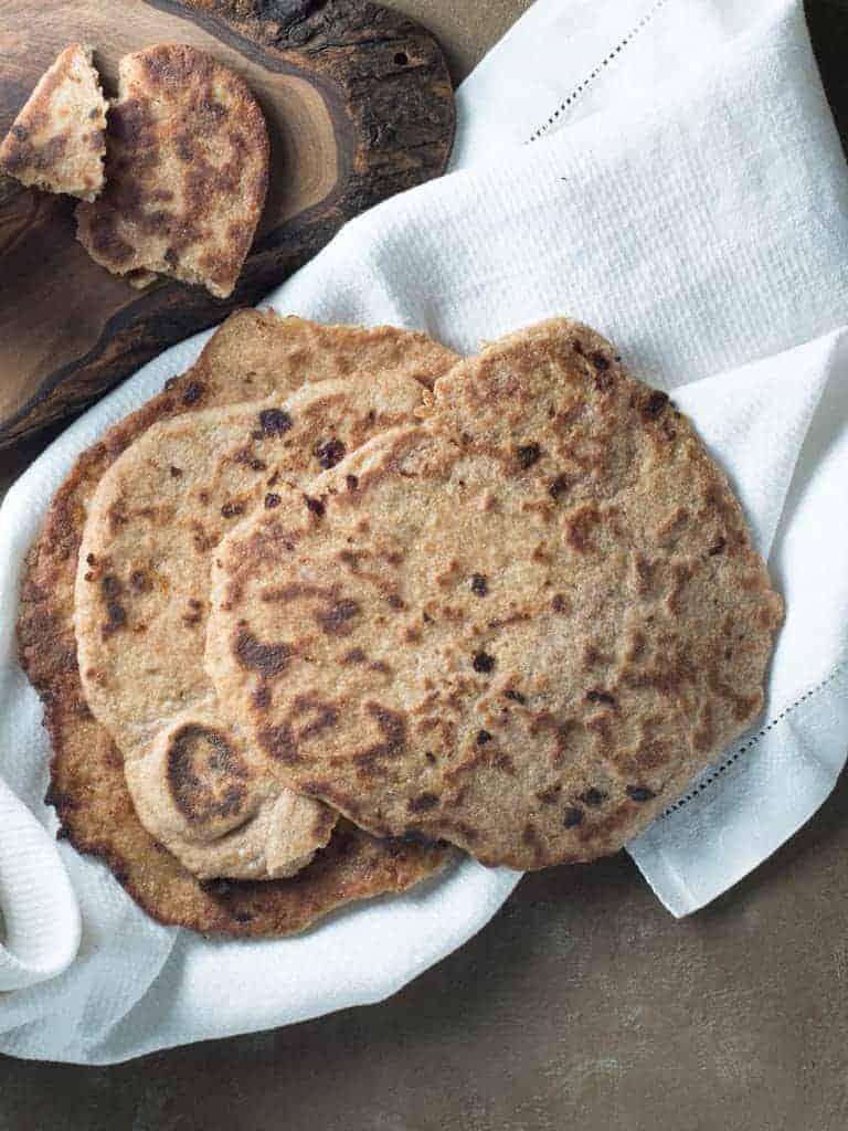 whole wheat naan recipe on a white napkin