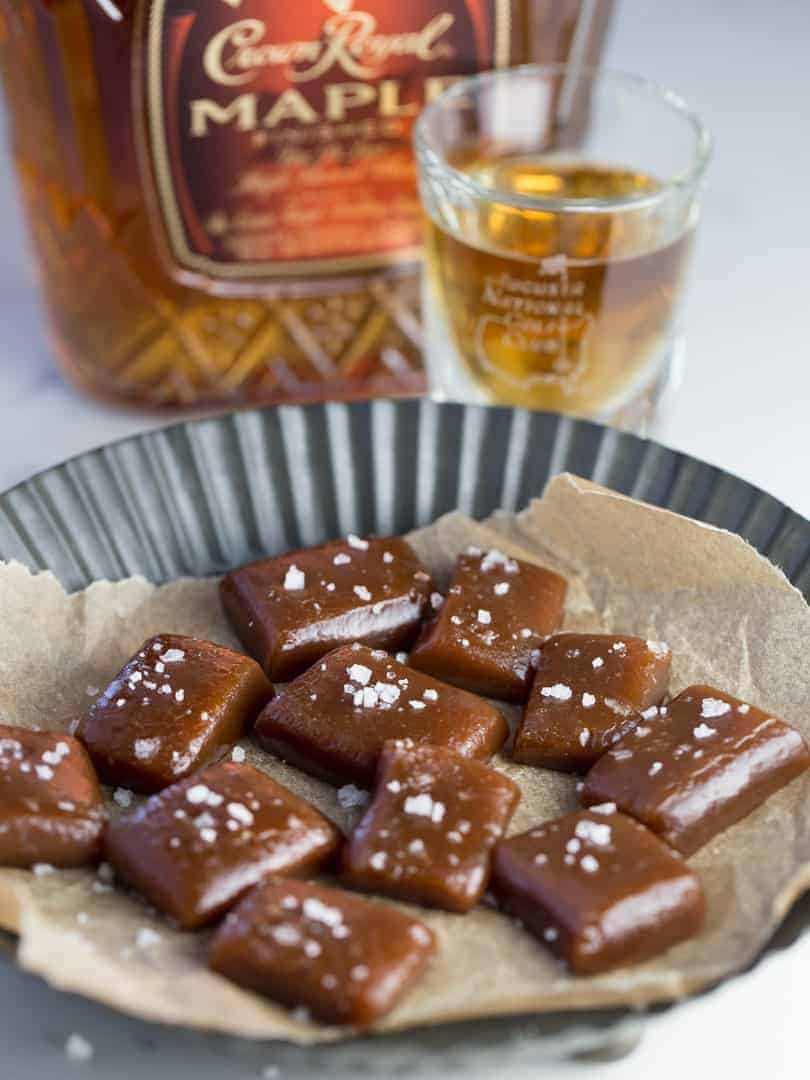 Salted Maple Whiskey Caramels create a party in your mouth when you taste these deliciously sweet, lightly salty caramels having just a hint of the smooth maple whiskey.