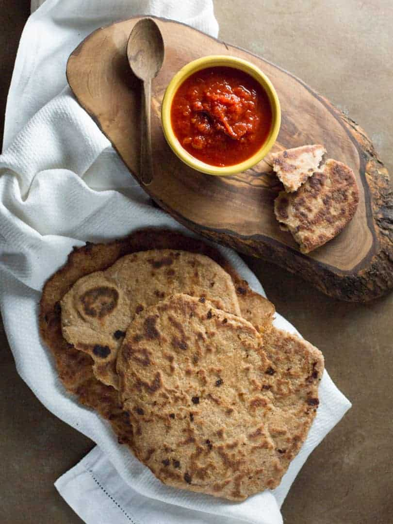 whole wheat naan with red pepper dipping sauce