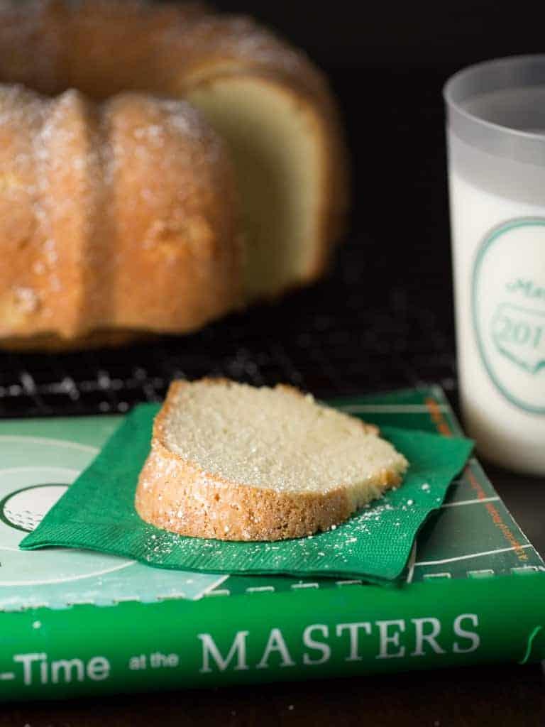 augusta national sour cream pound cake slice on a napkin.
