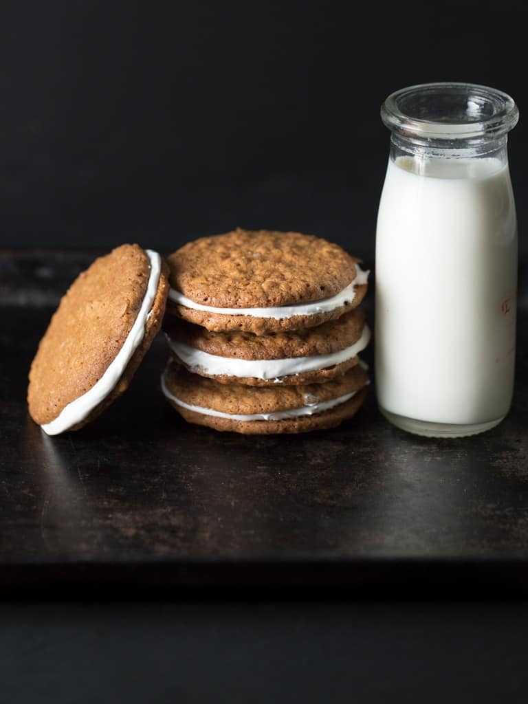 Easy to make, soft oatmeal cookie sandwiches filled with a layer of yummy fluffy white frosting will evoke sweet memories of the special snack cake, Little Debbie Oatmeal Cream Pies, your mother tucked into your lunch box.
