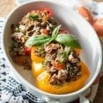 Italian Style Stuffed Paleo Peppers, are made with sweet bell peppers stuffed with Italian herbs and organic beef to create a delicious and healthy one-dish paleo meal for your family.