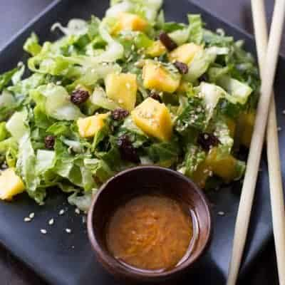 I was feeling a little tropical when I created this light and fresh Mango Sesame Salad with Carrot Ginger Dressing.