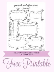 Free Planner Gratitude and Affirmation Printable