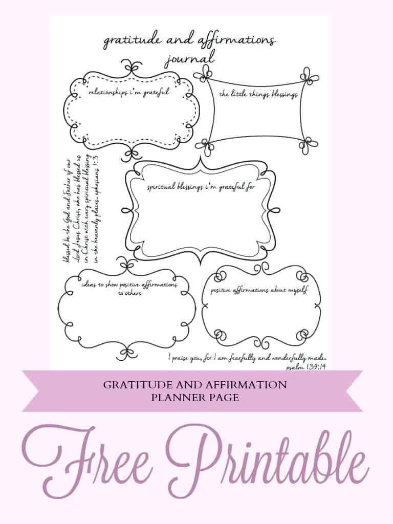 Free Planner Gratitude and Affirmation  Printable