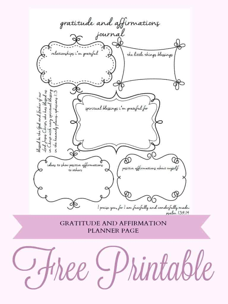 Free Planner Gratitude and Affirmation Printable | Sometimes we get so busy and wound so tight that we forget to stop and realize the blessings we have in our life. With this Free Gratitude and Affirmations Planner Printable it will be a snap to take some time each day to write down your thoughts on being grateful and brainstorm ideas to give positive affirmations to others and yourself.
