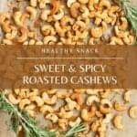 roasted cashews on pan
