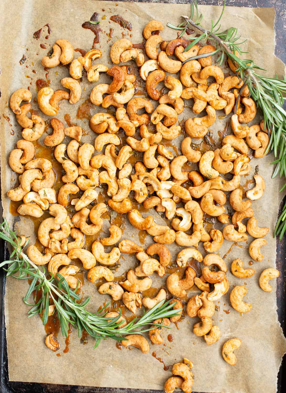 roasted cashews on pan