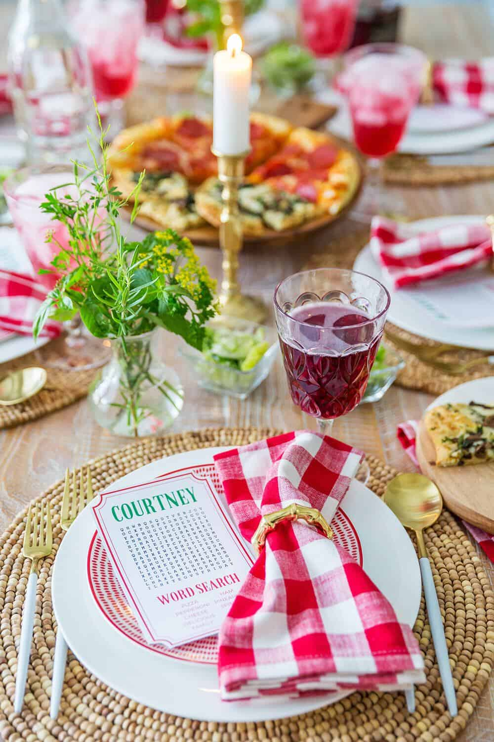 italian theme place setting