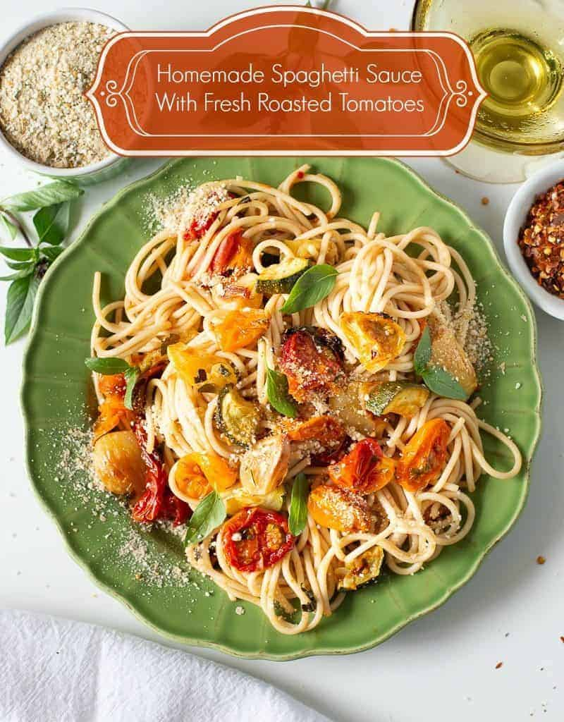 fresh roasted tomato spaghetti sauce on plate