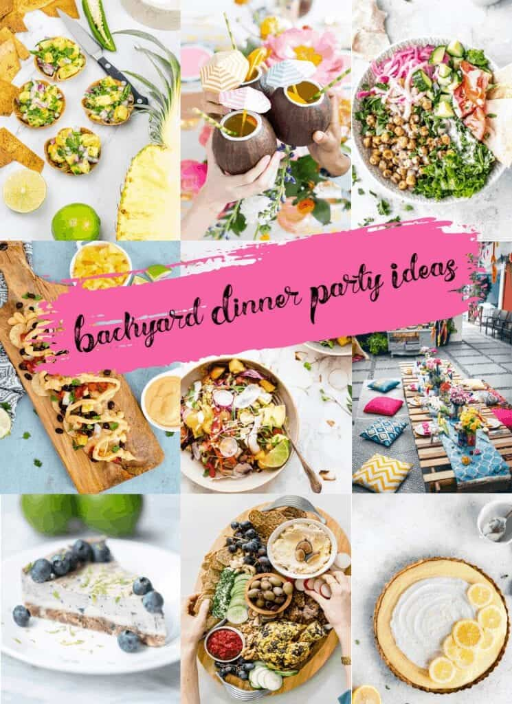 THEMED healthy backyard dinner party ideas with pictures of food.