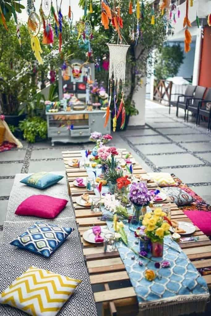 boho outdoor table