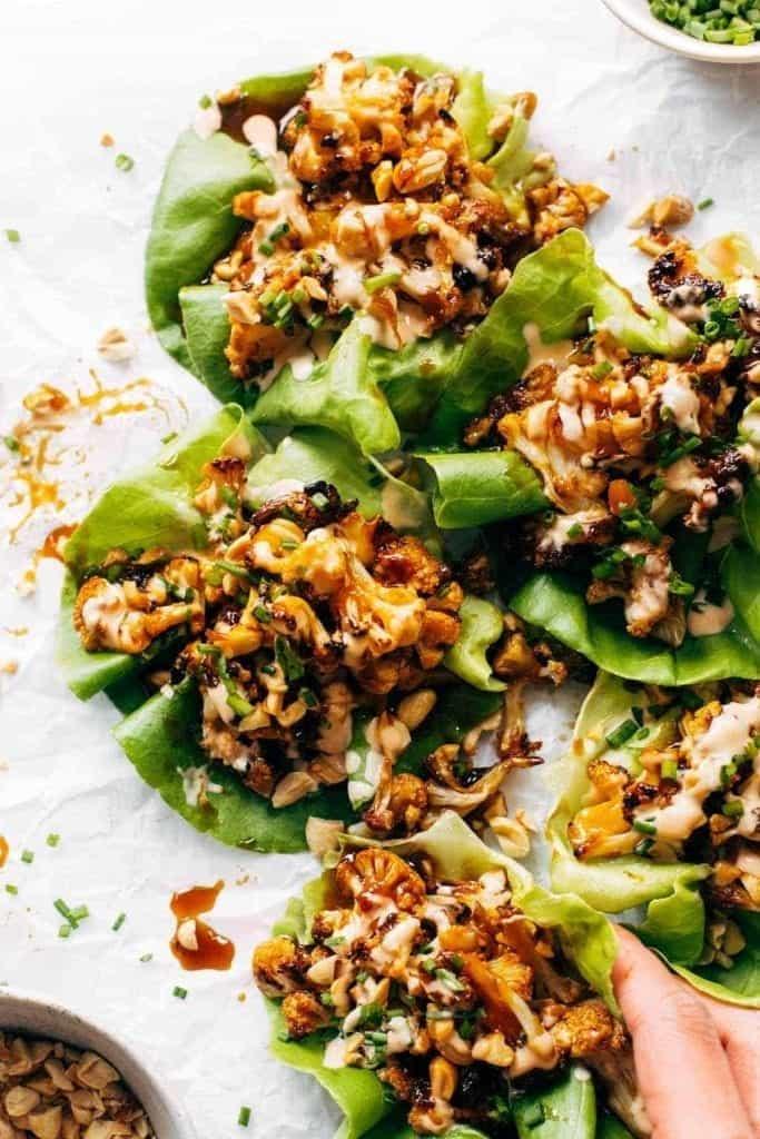 korean bbq style cauliflower lettuce wraps
