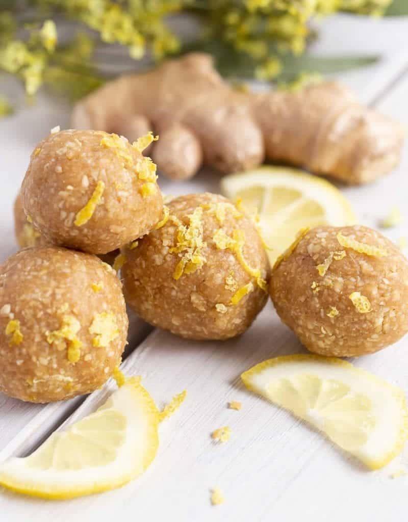 Vegan Food Gifts Lemon Ginger Energy Balls