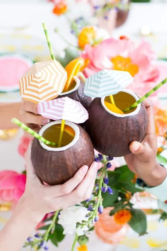 coconut cups wit straws