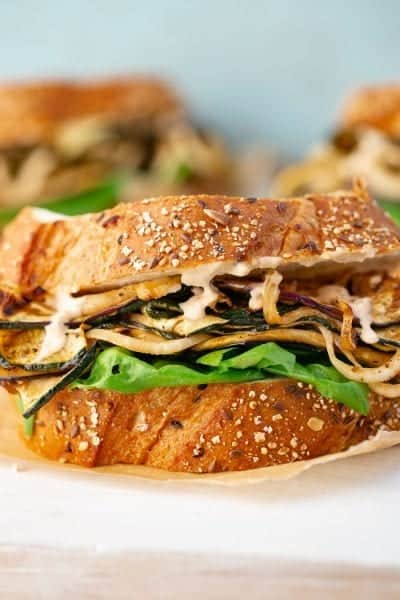 marinated grilled vegetable sandwich on bread