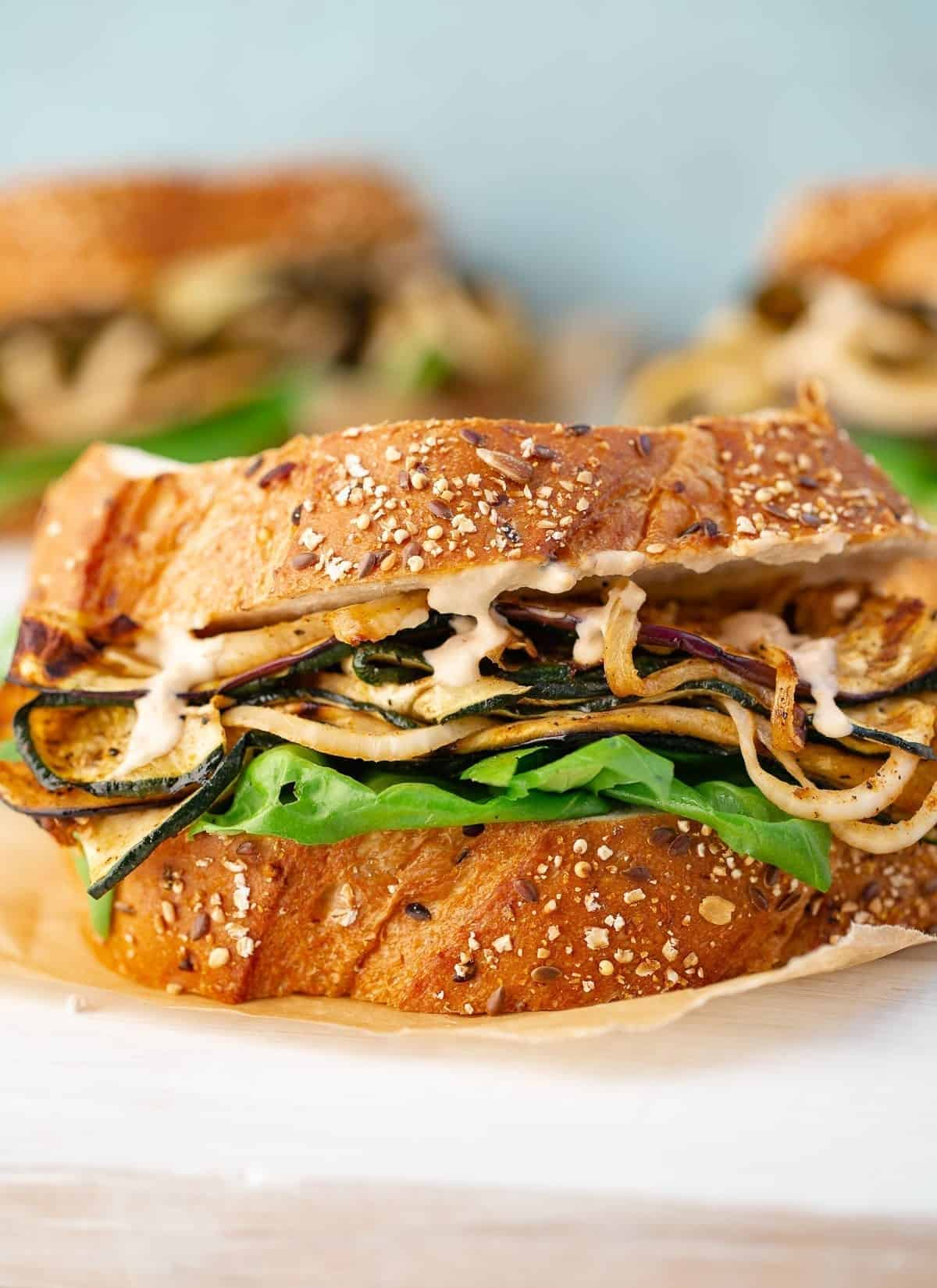 Marinated Grilled Vegetable Sandwich on paper