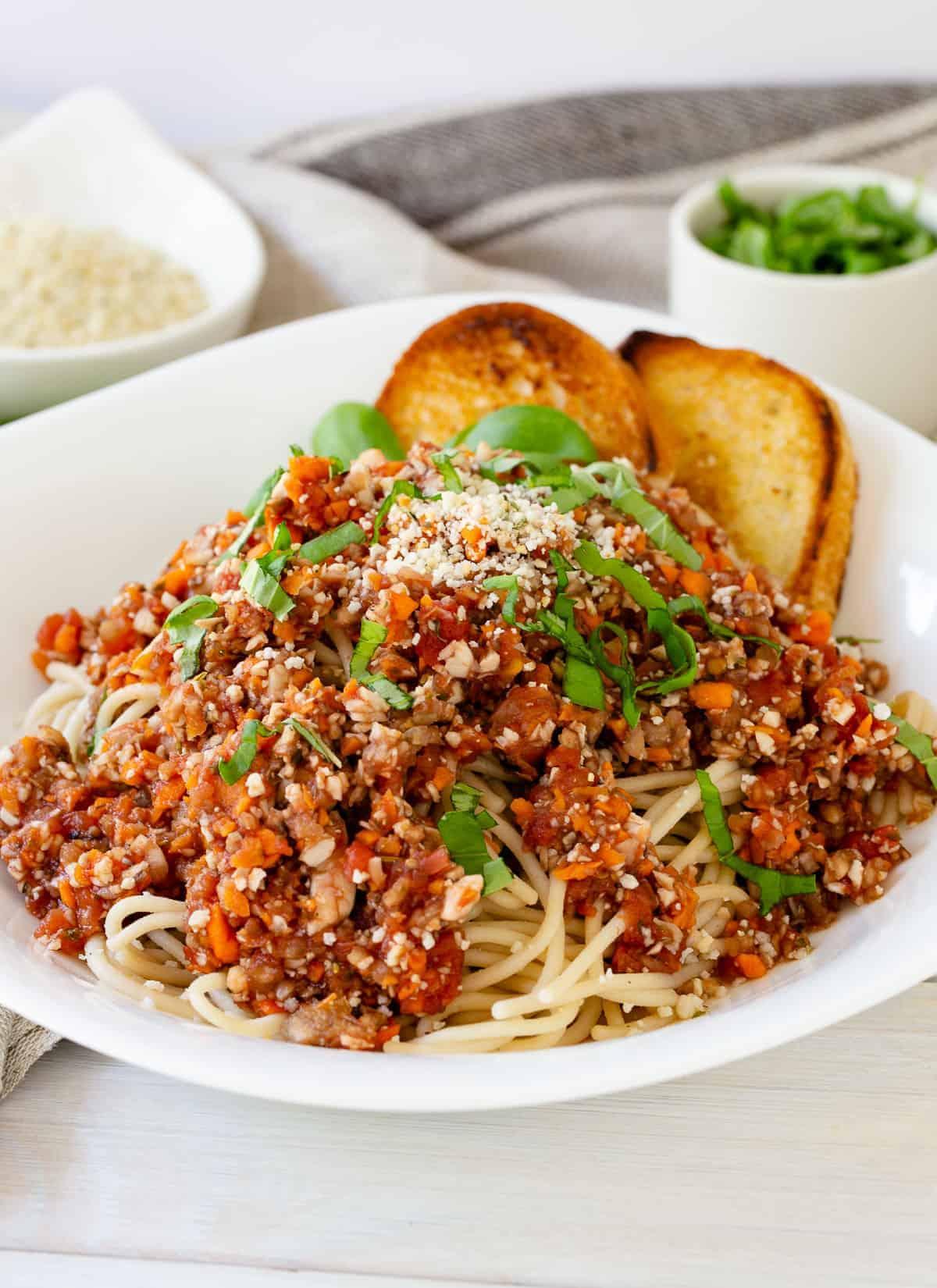 vegan bolognese in a bowl