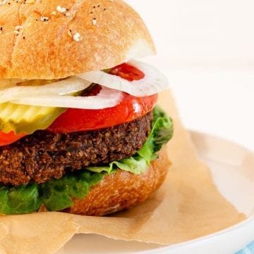 vegan black bean burger in a bun