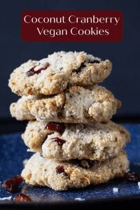 cranberry coconut cookieCoconut Cranberry Vegan Cookies are gluten free, dairy free and low sugar so you can have a healthy alternative to your cookie cravings. The sweetness in these comes from the cranberries and coconut.