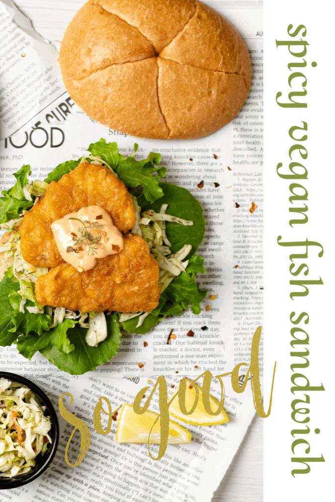 spicy vegan fish sandwich on newspaper