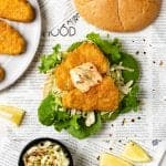vegan fish sandwich on newspaper