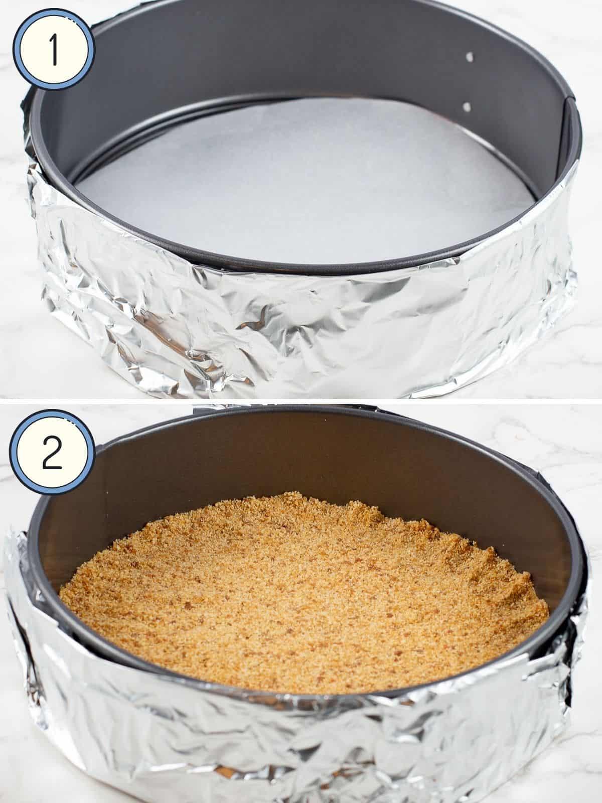 Creamy Pumpkin Vegan Cheesecake Recipe Tofutti wrapped empty pan and pan with crust