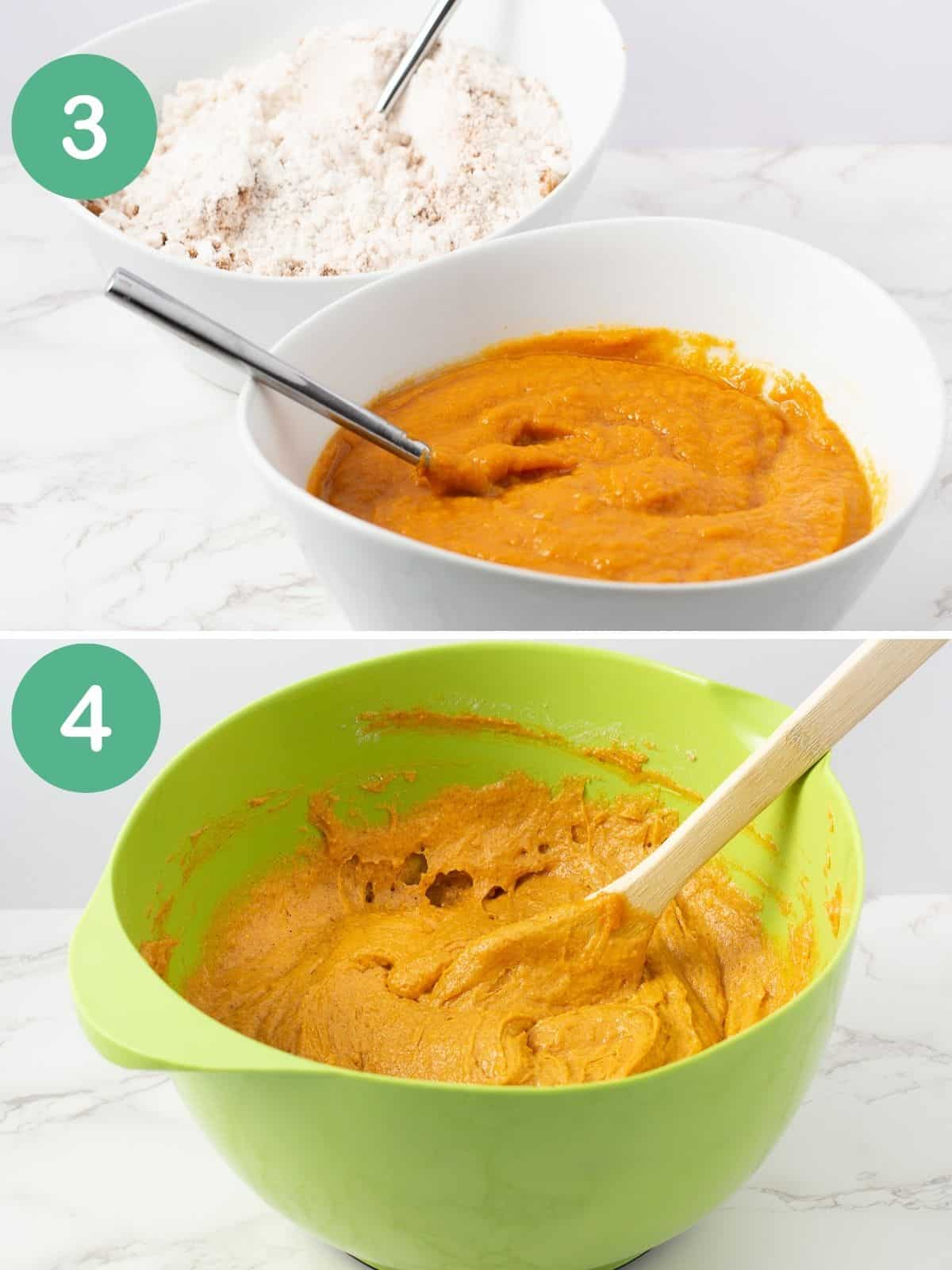 pumpkin bread dry ingredients and wet in bowls