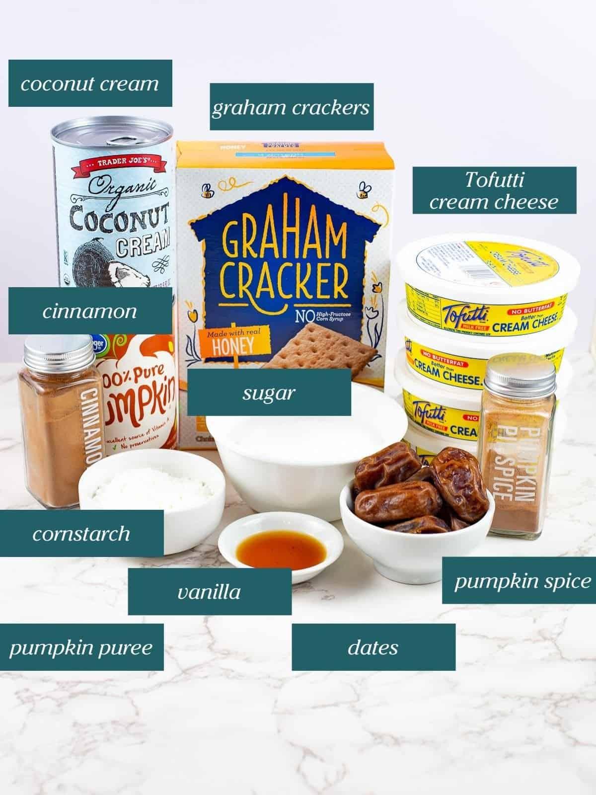 ingredients for Creamy Pumpkin Vegan Cheesecake Recipe Tofutti