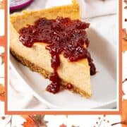 vegan pumpkin cheesecake with cranberry topping