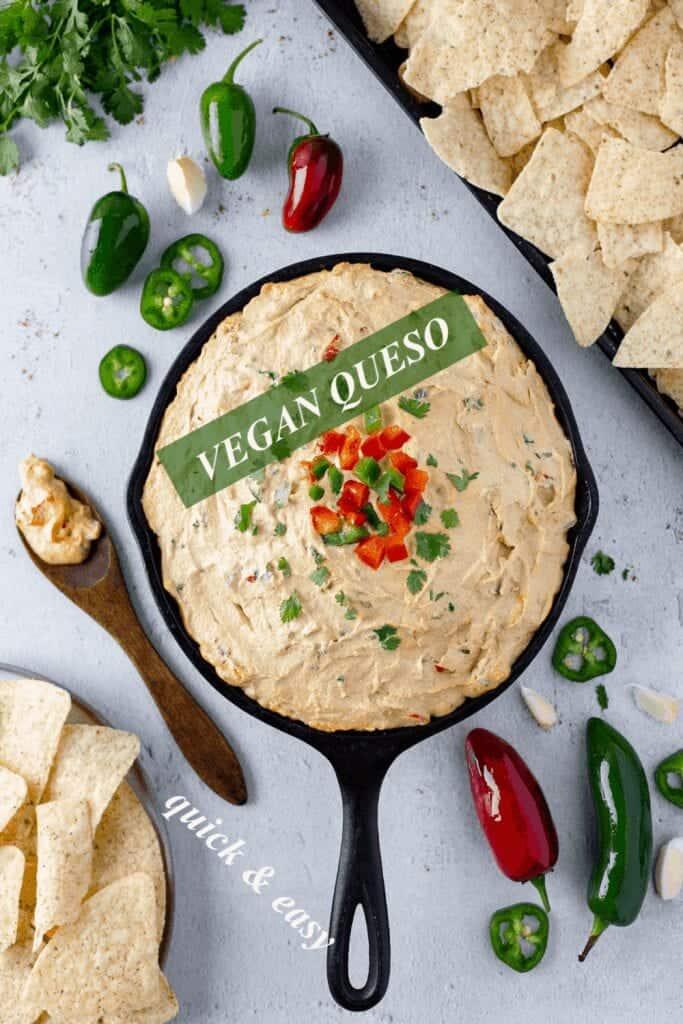 vegan queso in a skillet